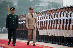 Chairman of the Joint Chiefs of Staff Adm. Mike Mullen is escorted by Chinese Gen. Chen Bingde, Chief of the Peoples Liberation Army's General Staff